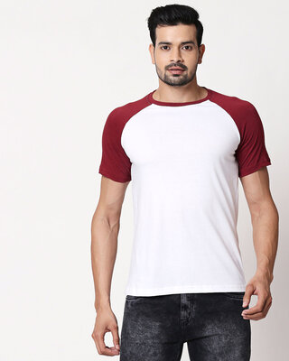Shop White-Scarlet Red Half Sleeve Raglan T-Shirt-Front