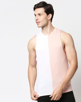 Shop White & Seashell Pink Half N Half Deep Armhole Vest-Front