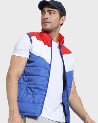 Shop White Sleeveless Color Block Puffer Jacket AW 21-Front