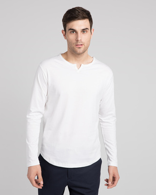 Shop White Slit Neck Full Sleeve Henley T-Shirt-Front