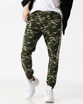 Shop White Stripes Olive Camo Twin Stripes Casual Pants Jogger-Front