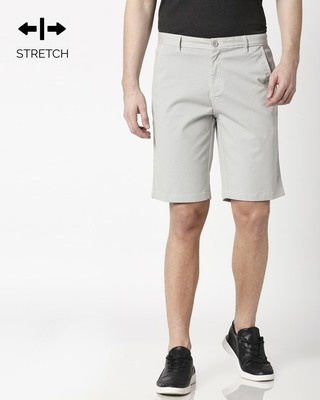 Shop White Textured Men's Shorts-Front