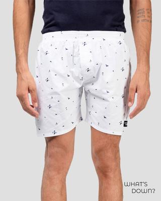 Shop Whatsdown White Triangle Boxers-Front