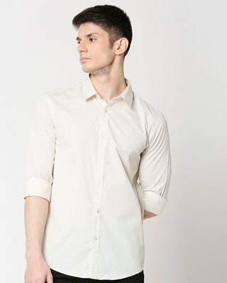 Shop White Twill Lycra Print Shirt-Front