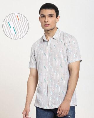 Shop White uneven Line AOP Half Sleeve Shirt-Front
