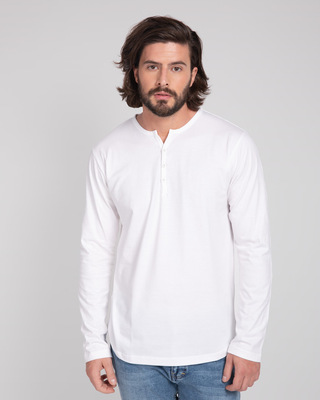 Shop White V-Neck Henley T-Shirt-Front
