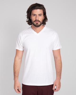 Shop White V-Neck T-Shirt-Front