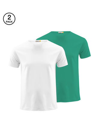 Shop Men's Half Sleeve Pack of 2 (White & Green)-Front