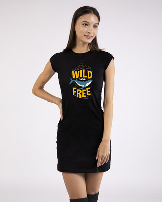 Shop Wild And Free Nautical Cap Sleeve Printed T-Shirt Dress Black-Front