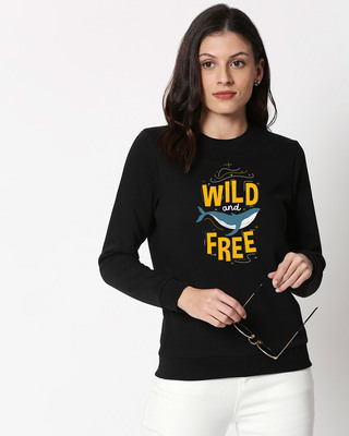 Shop Wild And Free Nautical Fleece Sweater Black-Front