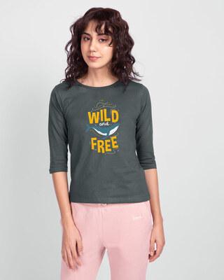 Shop Wild And Free Nautical Round Neck 3/4 Sleeve T-Shirts Nimbus Grey-Front