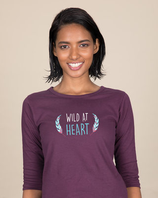 Shop Wild At Heart Boho Round Neck 3/4th Sleeve T-Shirt-Front