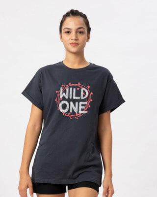 Shop Wild One Typography Boyfriend T-Shirt-Front