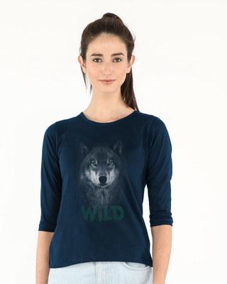 Shop Wild Wolf Round Neck 3/4th Sleeve T-Shirt-Front