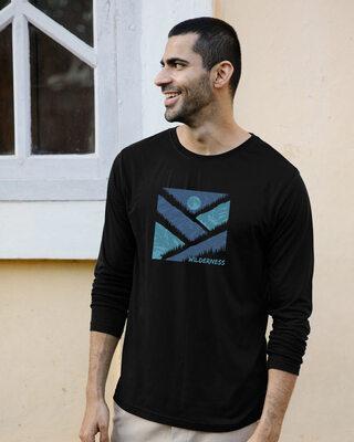 Shop Wilderness Full Sleeve T-Shirt Black-Front