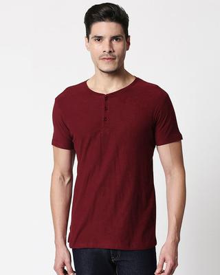 Shop Wine Half Sleeve Slub Henley T-Shirt-Front