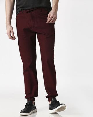 Shop Wine Red Cotton Jogger Pants-Front