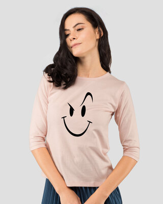 Shop Wink New Round Neck 3/4 Sleeve T-Shirts  Baby Pink-Front