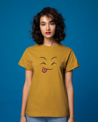 Shop Winky Smiley Boyfriend T-Shirt-Front