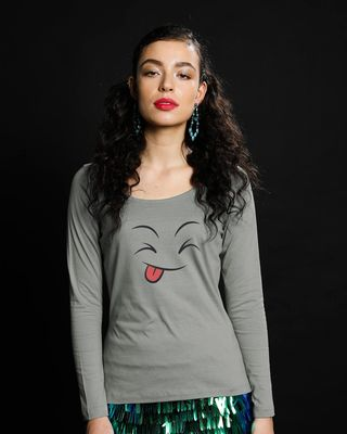 Shop Winky Smiley Scoop Neck Full Sleeve T-Shirt-Front