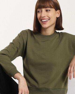 Shop Women's Solid Short Olive Hoodie-Front