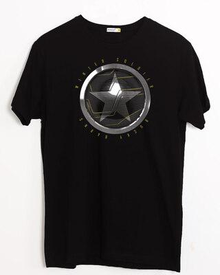Shop Winter Soldier Sigil Half Sleeve T-Shirt Black (FWL)-Front