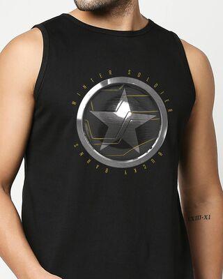 Shop Winter Soldier Sigil Round Neck Vest Black (FWL)-Front