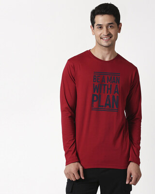 Shop With a Plan Full Sleeve T-Shirt Cherry Red-Front