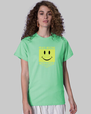 Shop With A Smile Boyfriend T-Shirts Jade Green -Front