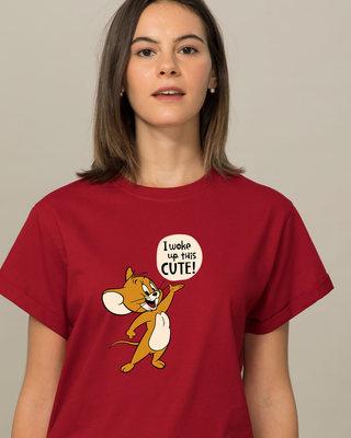 Shop Woke Up This Cute Boyfriend T-Shirt (TJL)-Front