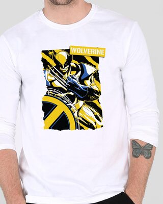 Shop Wolverine Poster Full Sleeve T-Shirt White (XML)-Front