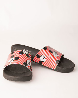 Shop Women All Over Mickey Sliders (DL)-Front