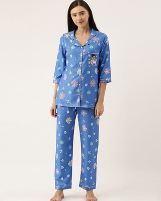 Shop Bannosswagger Women Blue Printed Night Suit-Front