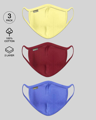 Shop Women's 2-Layer Everyday Protective mask - Pack of 3 (Pastel Yellow-Scarlet Red-Blue Haze)-Front
