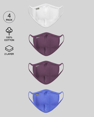 Shop Women's 2-Layer Everyday Protective mask - Pack of 4 (White- Deep Purple- Blue Haze)-Front
