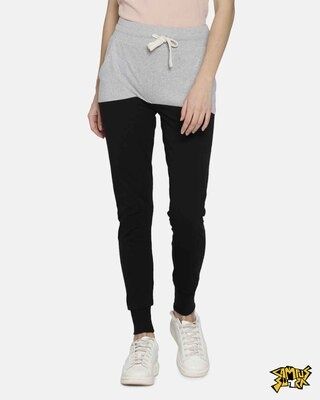 Shop Campus Sutra women's Grey & Black Joggers-Front