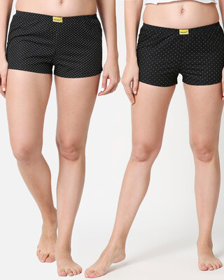 Shop Women One Back Pocket Boxer Combo All over Printed-Front