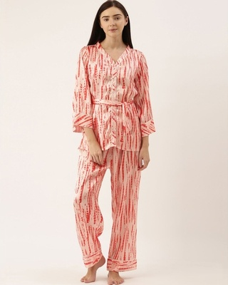 Shop Bannosswagger Women Peach Satin Printed Night Suit-Front