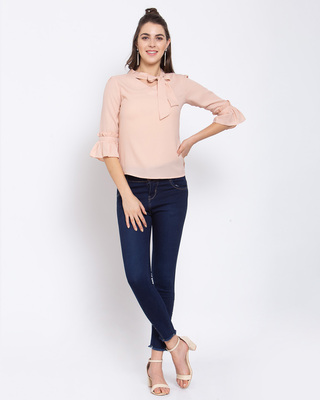 Shop Women's Beige Top with Flared Sleeve-Front