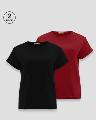 Shop Women's Boyfriend Plain T-Shirt - Pack of 2 (Black-Red)-Front