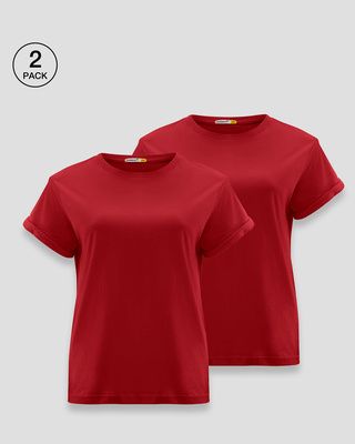 Shop Women's Boyfriend T-Shirt-Combo-Red-Red-Front
