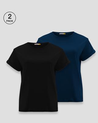 Shop Women's Boyfriend T-Shirt-Pack of 2 Combo Black-Blue-Front