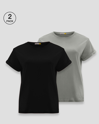 Shop Women's Boyfriend T-Shirt-Pack of 2 Combo Black-Grey-Front