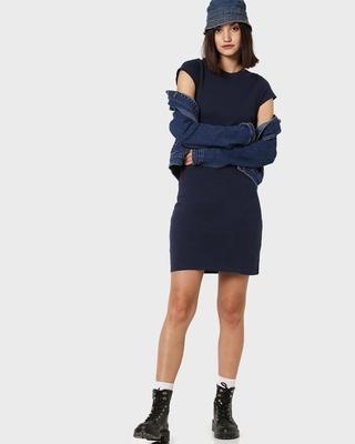 Shop Women's Cap Sleeve Plain T-Shirt Dress-Front