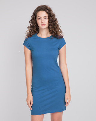 Shop Women's Cap Sleeve Plain T-Shirt Dress-Front