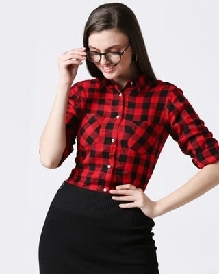 Shop Womens Checks Shirt-Front