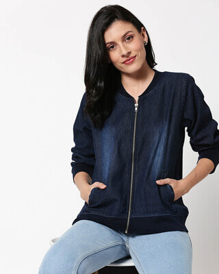 Shop Dark Navy Denim Bomber Jacket-Front