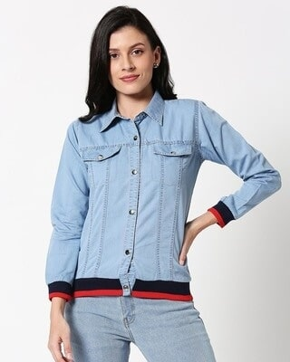 Shop Varsity Denim Shacket-Front