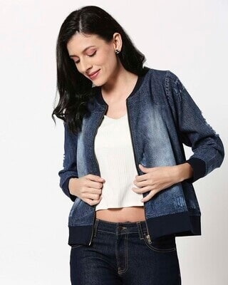 Shop Distressed Navy Denim Bomber Jacket-Front