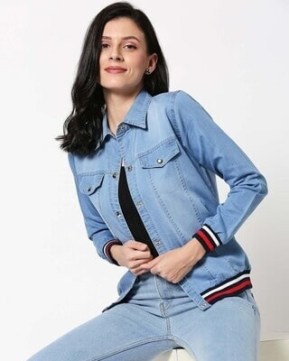 Shop Varsity Blue Denim Jacket-Front